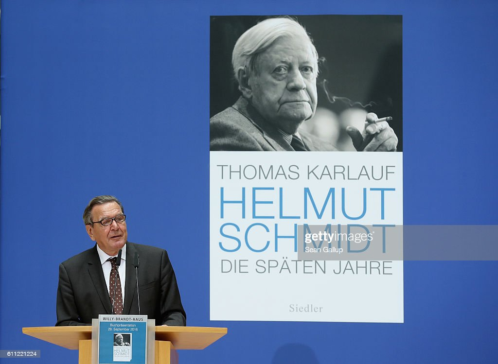 Former German Chancellor Gerhard Schroeder speaks at the presentation of the book: 'Helmut Schmidt - The Later Years' on September 29, 2016 in Berlin, Germany. Schmidt, a Social Democrat (SPD), led Germany as chancellor from 1974 to 1982 and died last year.