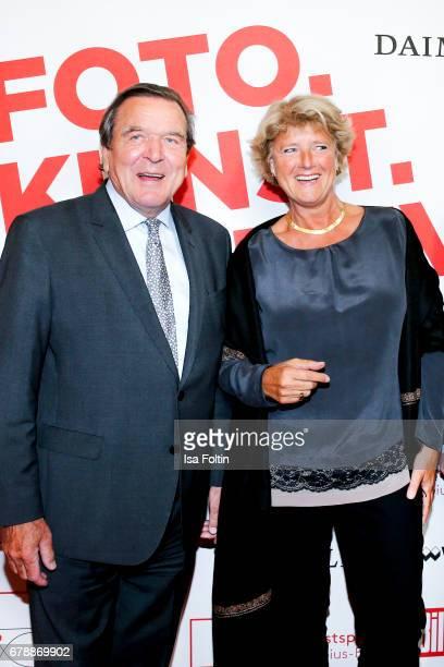 Former german chancellor Gerhard Schroederand german politician Monika Gruetters attend the 'FotoKunstBoulevard' opening at MartinGropiusBau on May 4...