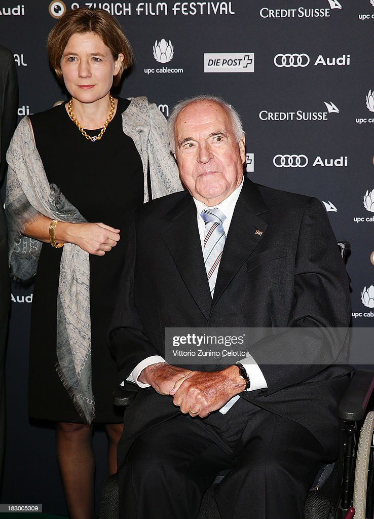 Former German Chancellor Helmut Kohl and his wife Maike Kohl-Richter attend an evening with Arthur Cohn during the Zurich Film Festival 2013 on October 3, 2013 in Zurich, Switzerland.