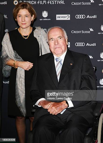 Former German Chancellor Helmut Kohl and his wife Maike KohlRichter attend an evening with Arthur Cohn during the Zurich Film Festival 2013 on...
