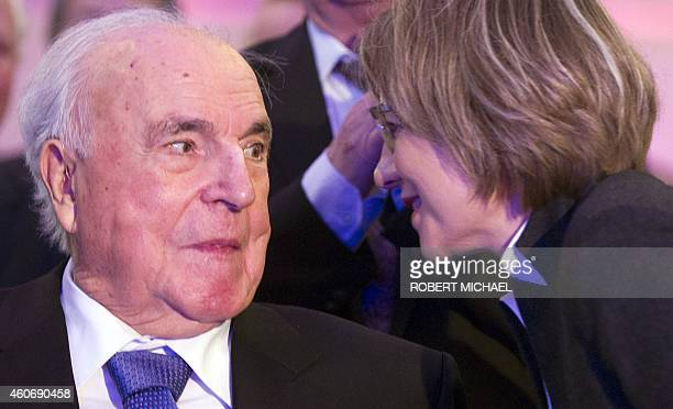 Former German Chancellor Helmut Kohl and his wife Maike KohlRichter attend a function themed 'Happily united from German Unity to European...