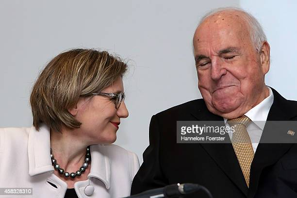 Former German Chancellor Helmut Kohl and his wife Maike RichterKohl attend the presentation of his new book 'Aus Sorge Um Europa' at Villa Kennedy on...