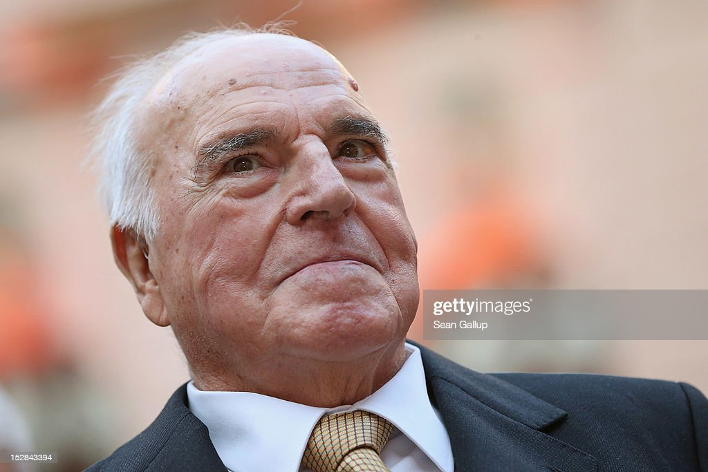 Former German Chancellor <a gi-track='captionPersonalityLinkClicked' href=/galleries/search?phrase=Helmut+Kohl&family=editorial&specificpeople=202518 ng-click='$event.stopPropagation()'>Helmut Kohl</a> arrives at a gala evening in Kohl's honour at the Deutsches Museum on September 27, 2012 in Berlin, Germany. Guests from politics, church and society attended the event to honour Kohl on the 30th anniversary of Kohl becoming chancellor. During his chancellorship Kohl facillitated the end of the Cold War, the fall of the Berlin Wall and German reunification.