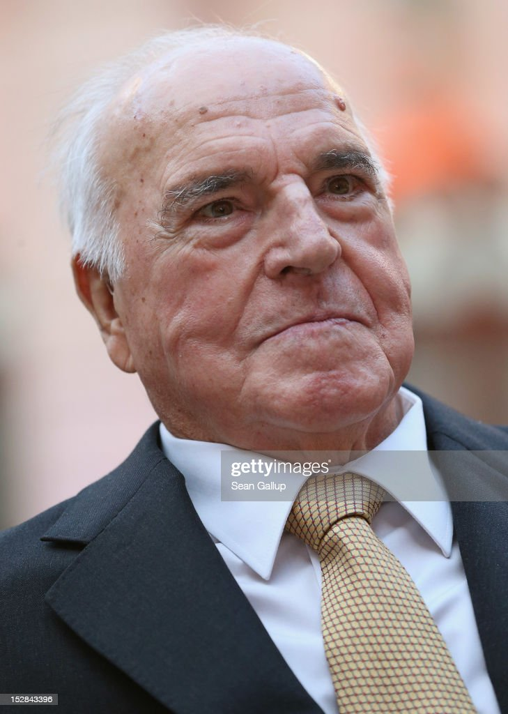 Former German Chancellor Helmut Kohl arrives at a gala evening in Kohl's honour at the Deutsches Museum on September 27 2012 in Berlin Germany Guests...