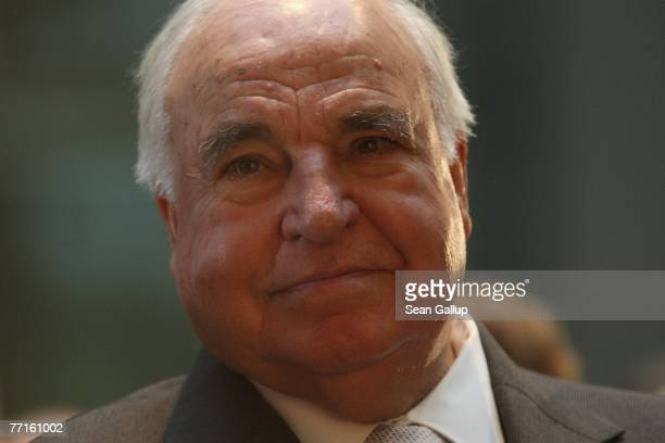 Former German Chancellor Helmut Kohl attends a ceremony to unveil a bust of himself in the Axel Springer Passage October 2 2007 in Berlin Germany