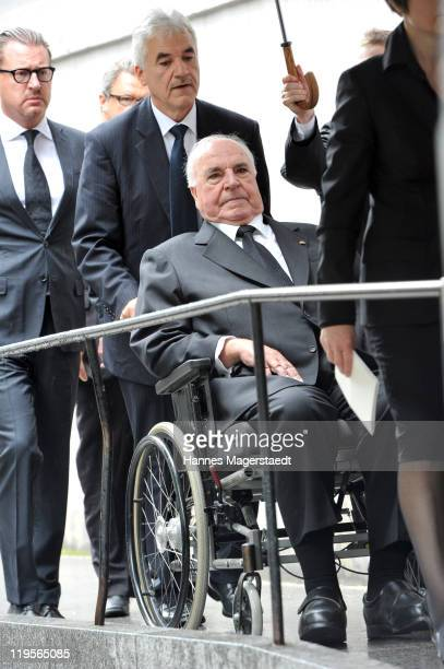 Former German Chancellor Helmut Kohl attends the funeral ceremony for Leo Kirch at St Michael Kirche on July 22 2011 in Munich Germany Leo Kirch who...