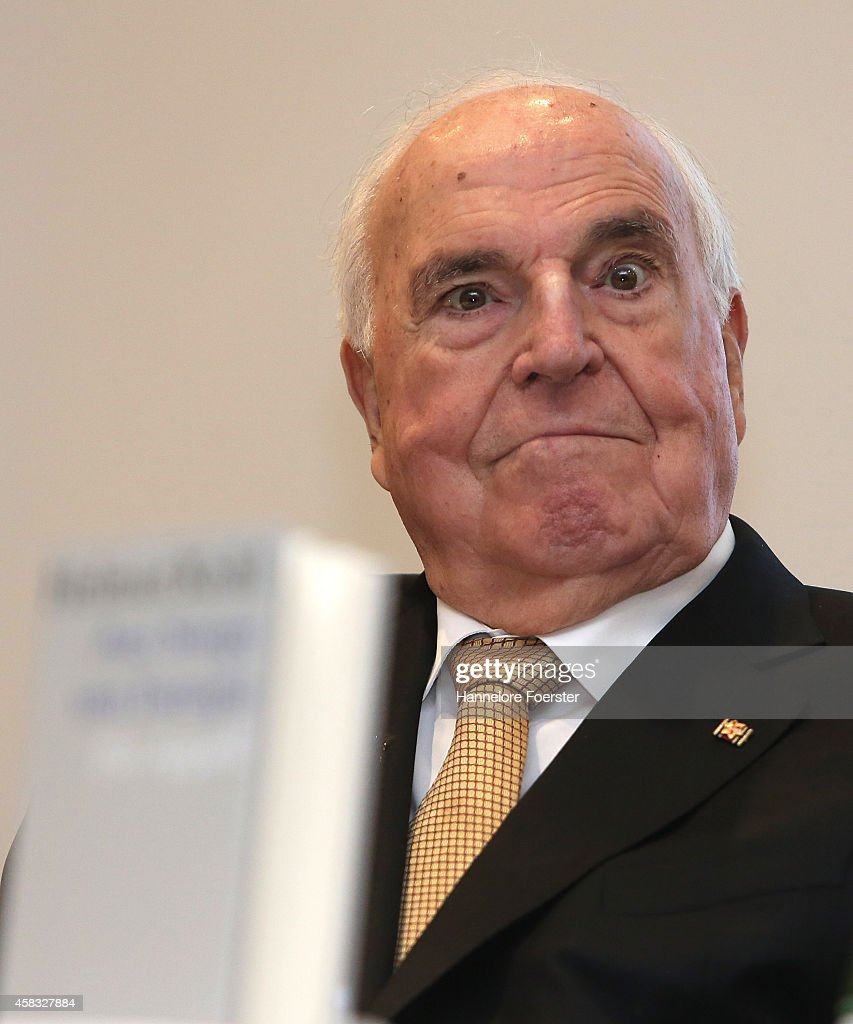 Former German Chancellor <a gi-track='captionPersonalityLinkClicked' href=/galleries/search?phrase=Helmut+Kohl&family=editorial&specificpeople=202518 ng-click='$event.stopPropagation()'>Helmut Kohl</a> attends the presentation of his new book: 'Aus Sorge Um Europa' ('Out Of Concern For Europe') at Villa Kennedy on November 3, 2014 in Frankfurt, Germany. In the book Kohl is particularly critical of the European Union's acceptance of Greece as a member state in 1981, which he deems as too early and holds his successor, former Chancellor Gerhard Schroeder, partially responsible. Kohl also claims the EU has become too lax in enforcing financial criteria on its members.