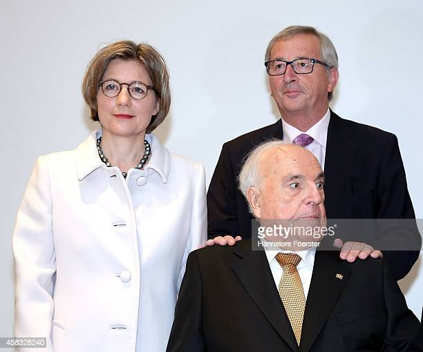 Former German Chancellor Helmut Kohl his wife Maike RichterKohl and eulogist JeanClaude Juncker president European Commission attend the presentation...