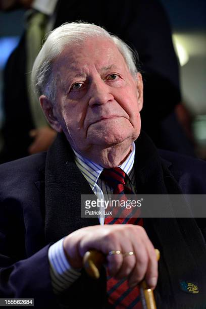 Former German Chancellor Helmut Schmidt attends a ceremony at the Kirchdorf/Wilhelmsburg Gymnasium high school on the day the school officially...