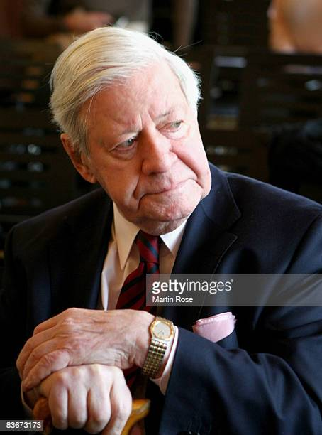 Former German chancellor Helmut Schmidt attends the book presentation of his wife Loki Schmidt at the Heinrich Heine House on November 13 2008 in...