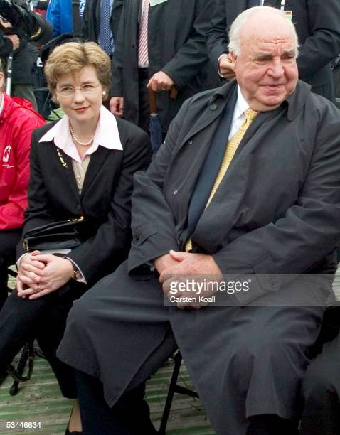 Former German Chancelor Helmut Kohl and his girlfriend Maike Richter attend World Youth Day Mass at the Marienfeld with Pope Benedict XVI on August...