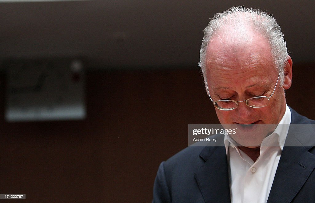 Former German Defense Minister Rudolf Scharping arrives for the first parliamentary inquiry witness hearing into the failed Euro Hawk drone project on July 22, 2013 in Berlin, Germany. The German government canceleLd the military project, which has already consumed EUR 562 million (USD 739 million) due to complications with domestic flight certification. The parliament is expected to interview military and government officials as well as senior executives from Northrop Grumman and European Aeronautic Defence and Space Company N.V. (EADS), producers of the drones, on the matter before reporting its results in September. The affair has put pressure on German Defense Minister Thomas de Maiziere prior to elections the same month.