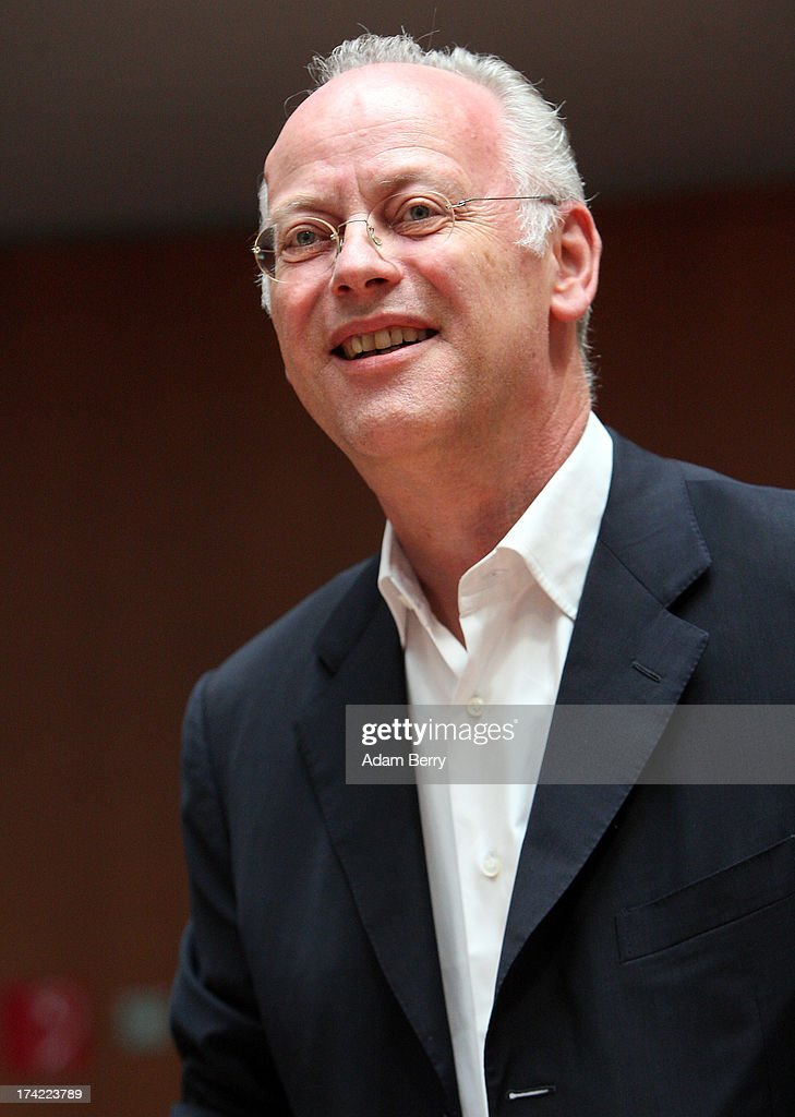 Former German Defense Minister <a gi-track='captionPersonalityLinkClicked' href=/galleries/search?phrase=Rudolf+Scharping&family=editorial&specificpeople=765174 ng-click='$event.stopPropagation()'>Rudolf Scharping</a> arrives for the first parliamentary inquiry witness hearing into the failed Euro Hawk drone project on July 22, 2013 in Berlin, Germany. The German government canceleLd the military project, which has already consumed EUR 562 million (USD 739 million) due to complications with domestic flight certification. The parliament is expected to interview military and government officials as well as senior executives from Northrop Grumman and European Aeronautic Defence and Space Company N.V. (EADS), producers of the drones, on the matter before reporting its results in September. The affair has put pressure on German Defense Minister Thomas de Maiziere prior to elections the same month.