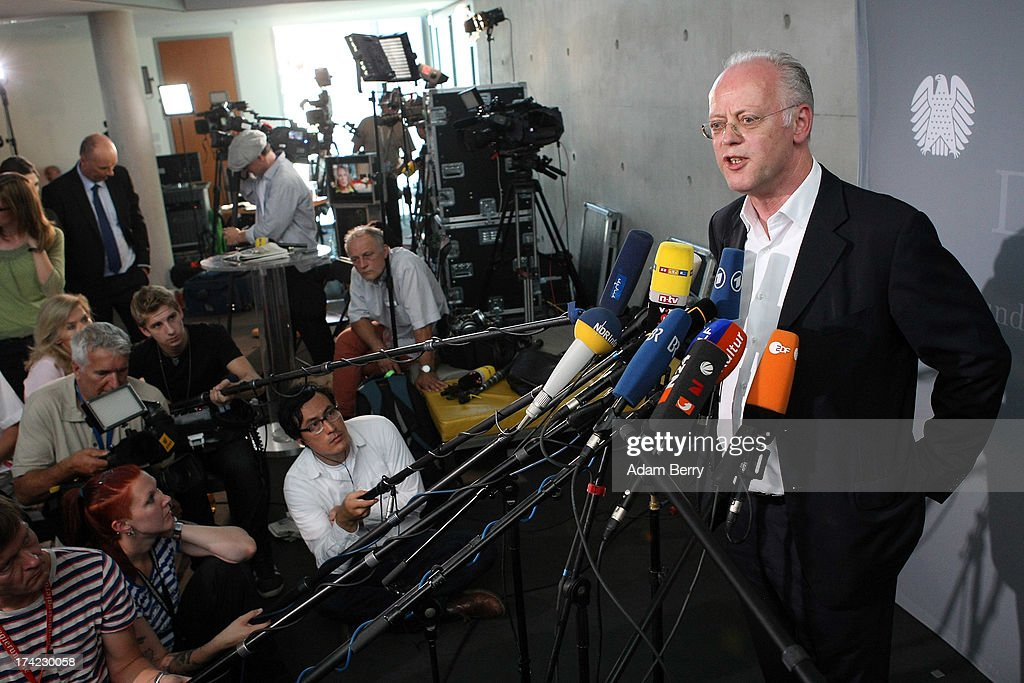 Former German Defense Minister Rudolf Scharping speaks to the press after attending a panel of the first parliamentary inquiry witness hearing into the failed Euro Hawk drone project on July 22, 2013 in Berlin, Germany. The German government cancelled the military project, which has already consumed EUR 562 million (USD 739 million) due to complications with domestic flight certification. The parliament is expected to interview military and government officials as well as senior executives from Northrop Grumman and European Aeronautic Defence and Space Company N.V. (EADS), producers of the drones, on the matter before reporting its results in September. The affair has put pressure on German Defense Minister Thomas de Maiziere prior to elections the same month.