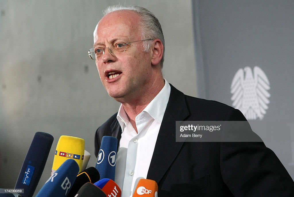 Former German Defense Minister <a gi-track='captionPersonalityLinkClicked' href=/galleries/search?phrase=Rudolf+Scharping&family=editorial&specificpeople=765174 ng-click='$event.stopPropagation()'>Rudolf Scharping</a> speaks to the press after attending a panel of the first parliamentary inquiry witness hearing into the failed Euro Hawk drone project on July 22, 2013 in Berlin, Germany. The German government cancelled the military project, which has already consumed EUR 562 million (USD 739 million) due to complications with domestic flight certification. The parliament is expected to interview military and government officials as well as senior executives from Northrop Grumman and European Aeronautic Defence and Space Company N.V. (EADS), producers of the drones, on the matter before reporting its results in September. The affair has put pressure on German Defense Minister Thomas de Maiziere prior to elections the same month.