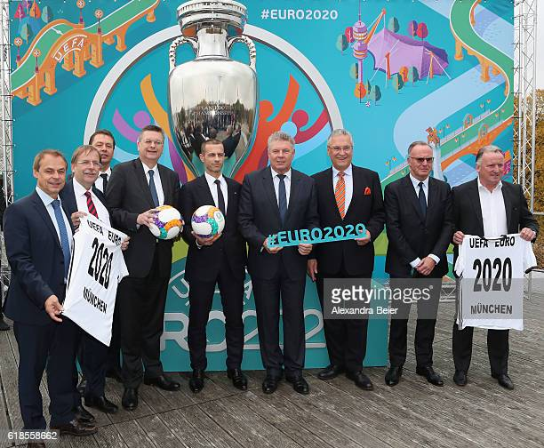 Former German football player Olaf Thon first DFB vice president Rainer Koch DFB general secretary Friedrich Curtis DFB president Reinhard Grindel...