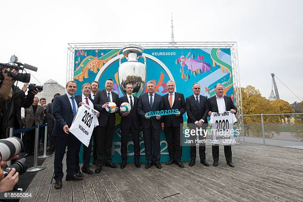 Former German football player Olaf Thon first DFB vice president Rainer Koch DFB general secretary Friedrich Curtis DFB president Reinhard Grindel...