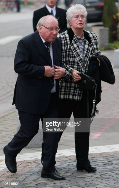 Former German football star Uwe Seeler and his wife Ilka Seeler arrive for the memorial service for Loki Schmidt wife of former German Chancellor...