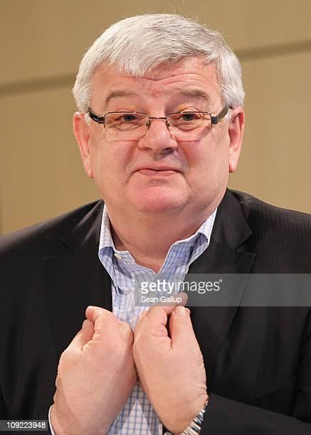 Former German Foreign Minister Joschka Fischer presents his new book 'I Am Not Convinced' at Akademie der Kuenste on February 17 2011 in Berlin...