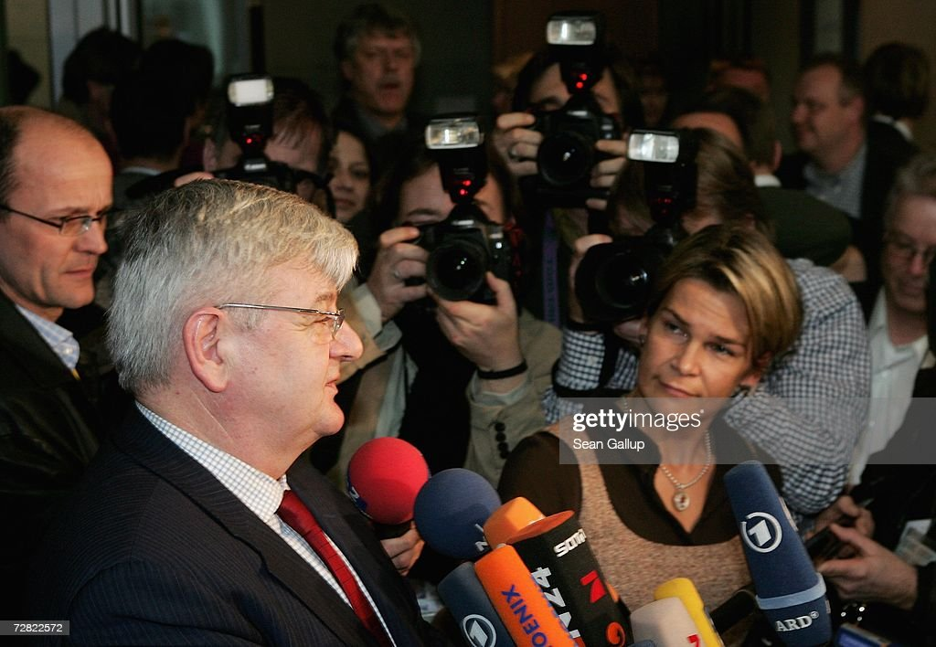 Former German Foreign Minister Joschka Fischer speaks to journalists after testifying at a session of parliamentary hearings into the case of Khalid El-Masri, a German citizen kidnnapped by the CIA, at the Bundestag December 14, 2006 in Berlin, Germany. El Masri was detained by the CIA in 2004 and held for several months at a prison for terrorists in Afghanistan, before being released following confirmation that he was not in fact the person the CIA had originally thought. The hearings now in Berlin are focusing on whether German officials at the time knew of or had a role in El Masri's detention.