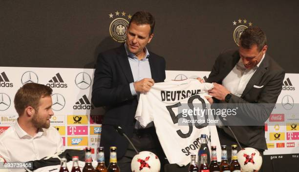 Former German hockey national team player Max Mueller manager of the German national soccer team Oliver Bierhoff and CEO of German Sporthilfe...