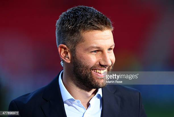 Former german national player Thomas Hitzlsperger looks on before the UEFA European Under21 Group A match between Germany and Denmark at Eden Stadium...