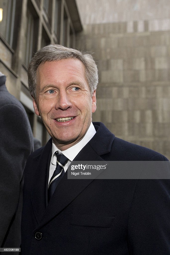 Former German President Christian Wulff arrives at the Landgericht Hannover courthouse for the third day of his trial on November 27, 2013 in Hanover, Germany. Wulff is accused of accepting favors while he was governor of Lower Saxony, a charge that prompted him to resign last year from his office as president. Wulff is the first post-World War II German president to face a court trial.
