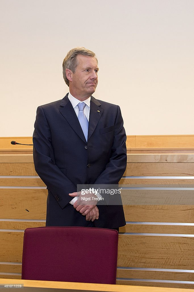 Former German President <a gi-track='captionPersonalityLinkClicked' href=/galleries/search?phrase=Christian+Wulff&family=editorial&specificpeople=221618 ng-click='$event.stopPropagation()'>Christian Wulff</a> waits in the courtroom at the Landgericht Hannover courthouse for the second day of his trial on November 21, 2013 in Hanover, Germany. Wulff is accused of accepting favors while he was governor of Lower Saxony, a charge that prompted him to resign last year from his office as president. Wulff is the first post-World War II German president to face a court trial.