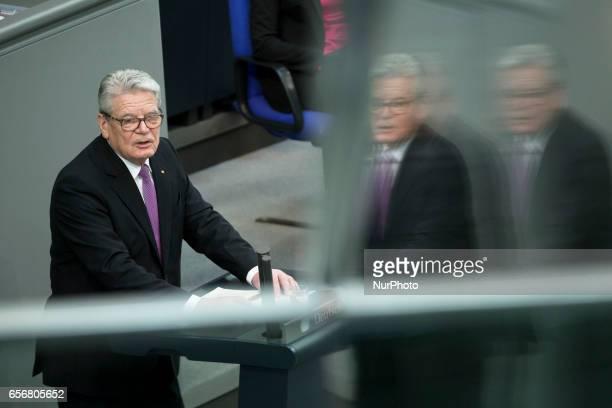 Former German President Joachim Gauck holds a speech before the swearingin ceremony of new German President FrankWalter Steinmeier during a common...