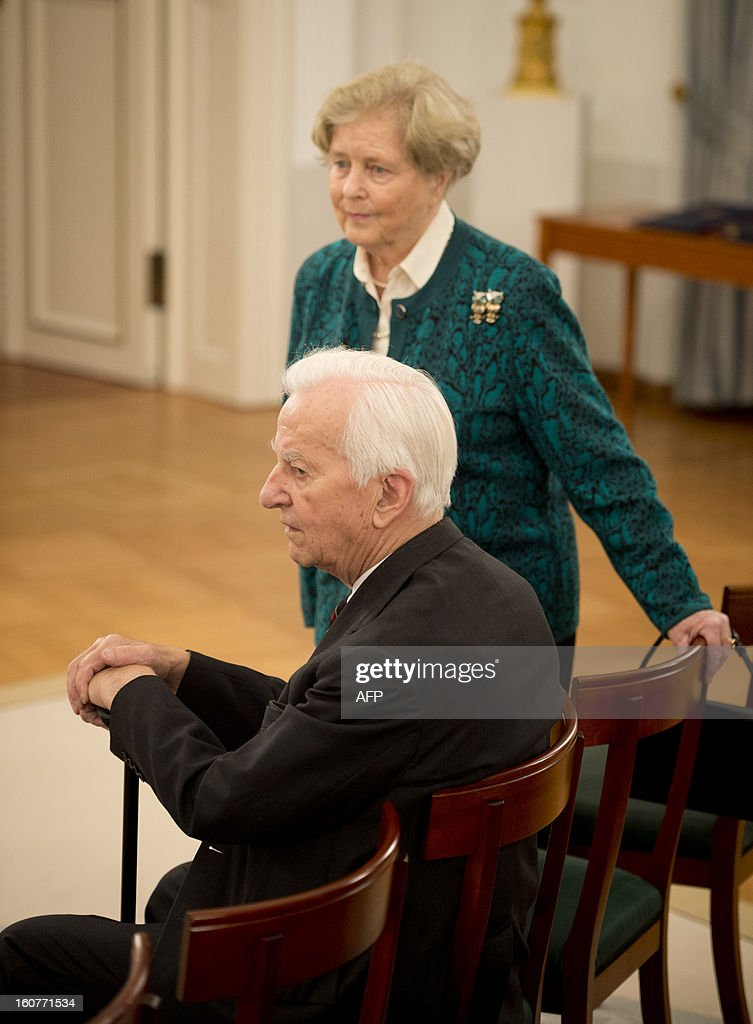 Former German President Richard von Weizsaecker and his wife Marianne attend a ceremony where German President Joachim Gauck awarded Argentinian- born conductor Daniel Barenboim the German order of Merit for services to music and culture before a dinner in his honour at the Bellevue Palace in Berlin on February 5, 2013.