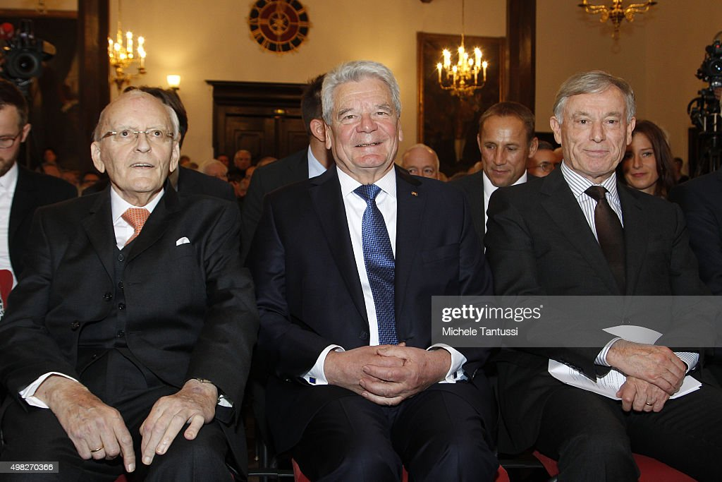 Former German President Roman Herzog, German president Joachim Gauck and former German president Horst Koehler during the Friedrich-August-von-Hayek Award ceremony on November 22, 2015 in Freiburg im Breisgau, Germany.