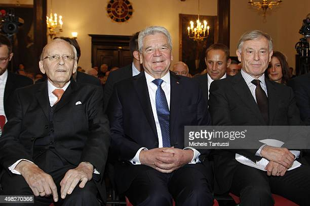 Former German President Roman Herzog German president Joachim Gauck and former German president Horst Koehler during the FriedrichAugustvonHayek...