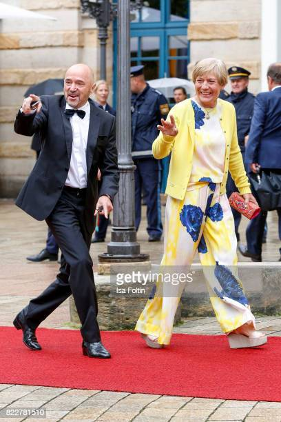 Former German skier Christian Neureuther and his wife former German skier Rosi Mittermaier attend the Bayreuth Festival 2017 Opening on July 25 2017...