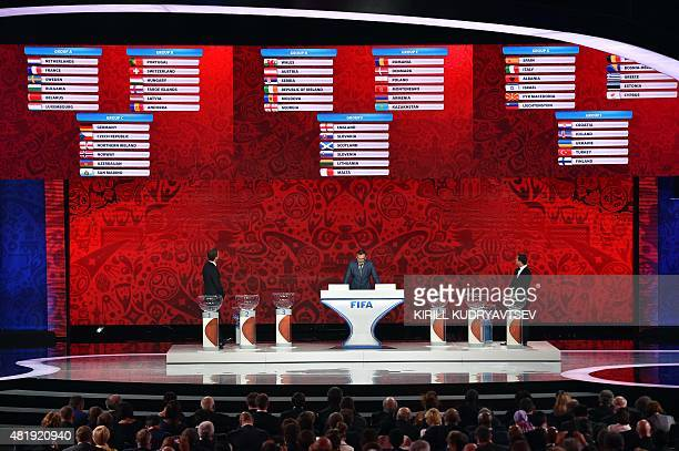 Former German striker Oliver Bierhoff FIFA secretary general Jerome Valcke and Russia's striker Alexander Kerzhakov stand in front of a board...