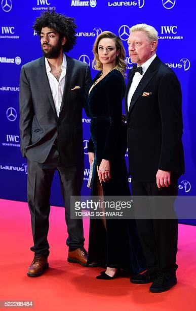 Former German tennis player Boris Becker his wife Lilly and son Noah pose on the red carpet before the Laureus World Sports 2016 Awards Ceremony in...