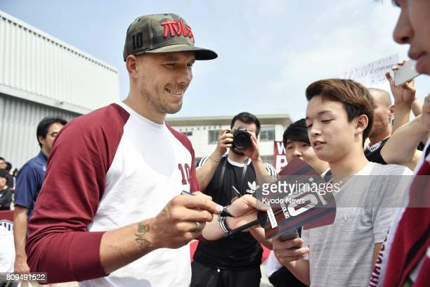 Former Germany international forward Lukas Podolski arrives in the western Japan city of Kobe on July 6 to join the JLeague firstdivision side Vissel...