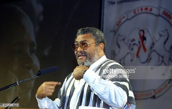 Former Ghanean President John Jerry Rawlings addresses the opening of the twelfth annual African Conference on AIDS and Sexually Transmitted Diseases...