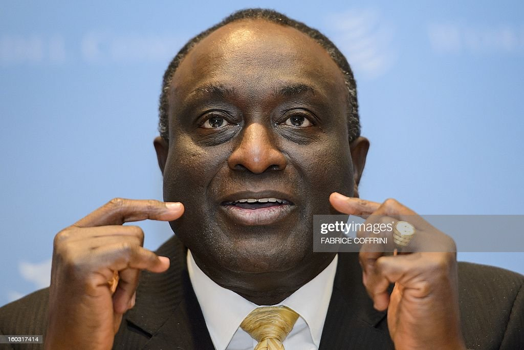Former Ghanian trade minister Alan Kyerematen gestures during a press conference following a hearing on January 29, 2013 at the World Trade Organization (WTO) headquarters in Geneva. WTO began interviewing nine candidates to replace Pascal Lamy as director general. The WTO's 158 country members are to make their decision known by May 31.
