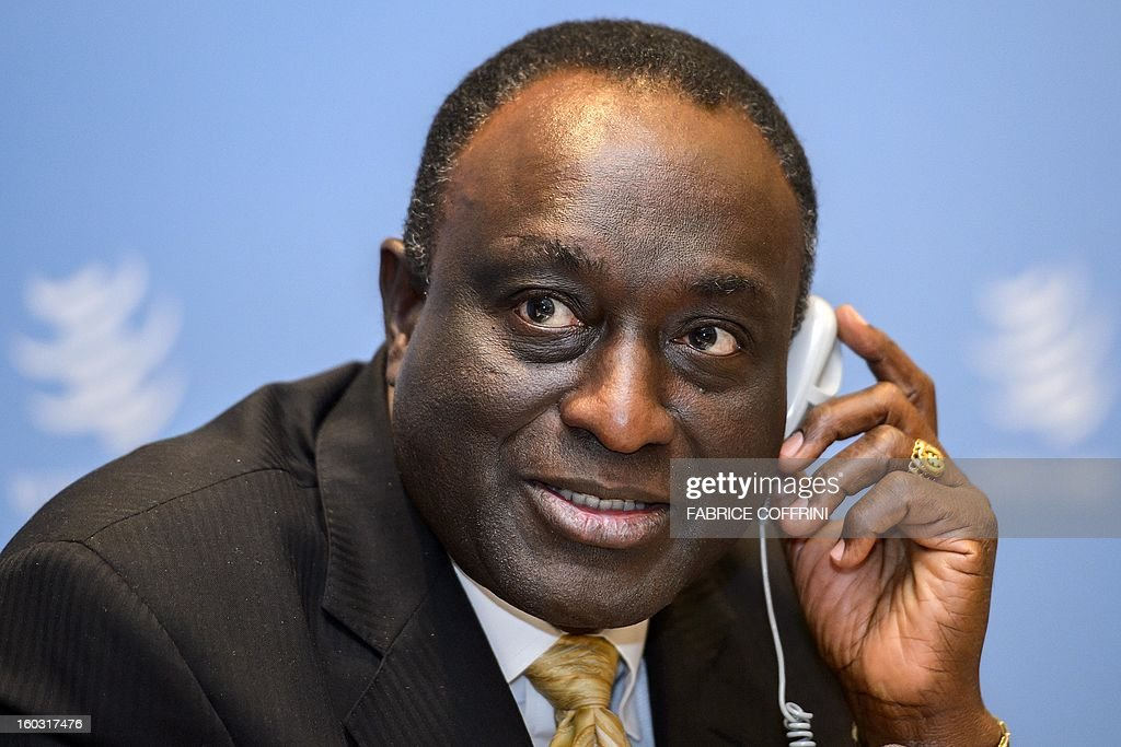 Former Ghanian trade minister Alan Kyerematen gestures during a press conference following a hearing on January 29, 2013 at the World Trade Organization (WTO) headquarters in Geneva. WTO begins interviewing nine candidates to replace Pascal Lamy as director general. The WTO's 158 member countries is to make its decision known by May 31.