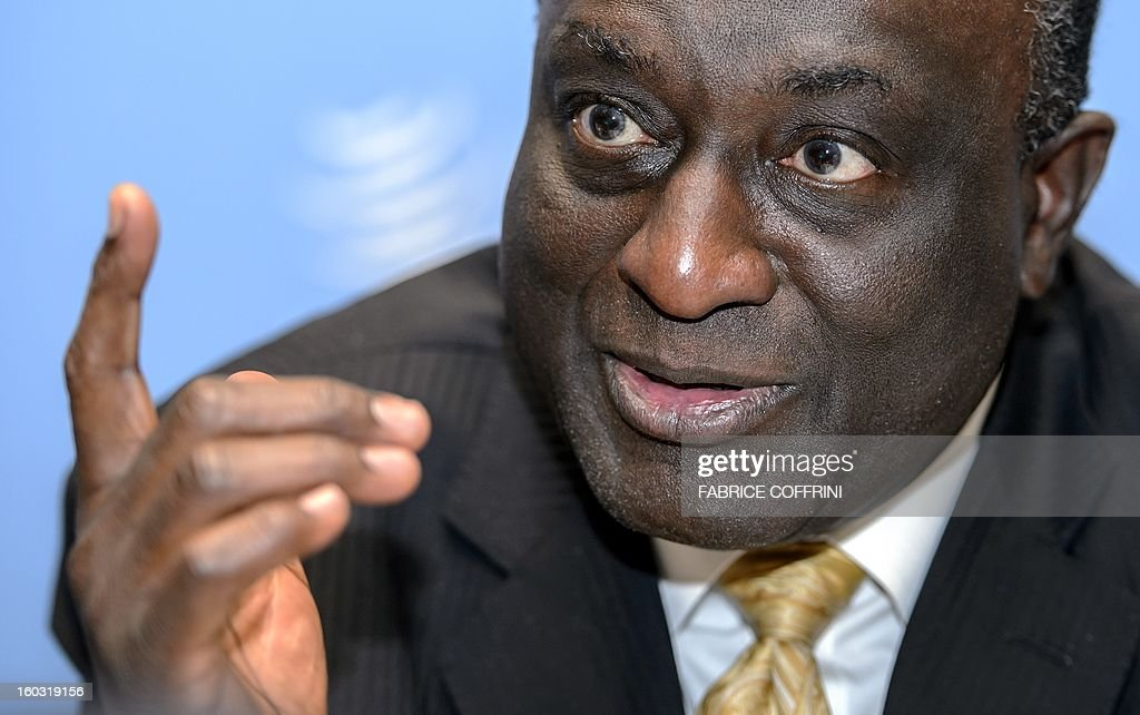 Former Ghanian trade minister Alan Kyerematen gestures during a press conference following a hearing on January 29, 2013 at the World Trade Organization (WTO) headquarters in Geneva. WTO begins interviewing nine candidates to replace Pascal Lamy as director general. The WTO's 158 member countries is to make its decision known by May 31. AFP PHOTO / FABRICE COFFRINI