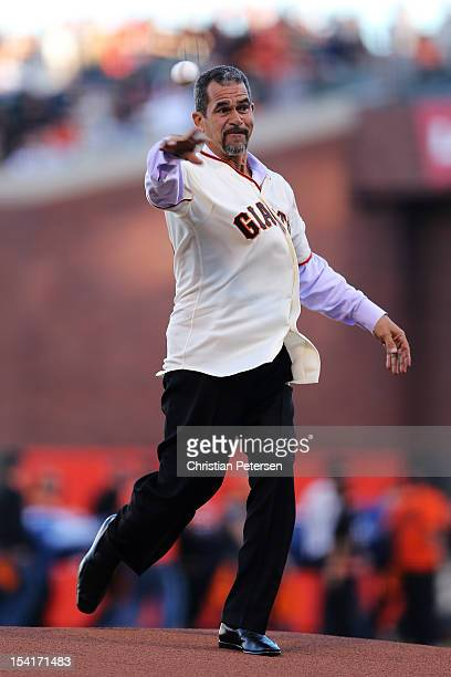 Former Giant Benito Santiago throws the ceremonial first pitch prior to Game Two of the National League Championship Series against the St Louis...