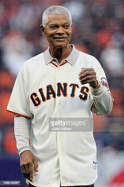 Former Giants star Felipe Alou throws out the first pitch before Game Five of the NLCS during the 2010 MLB Playoffs between the San Francisco Giants...