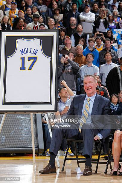 Former Golden State Warriors player Chris Mullin has his jersey retired during a game between the Minnesota Timberwolves and the Golden State...