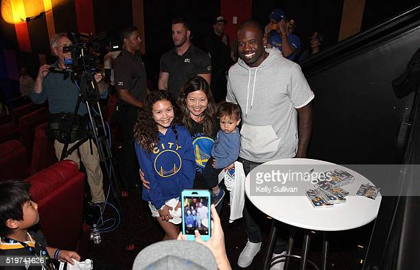 Former Golden State Warriors shooting guard Jason Richardson greets fans during halftime at the American Express Dub Nation To The IMAX The First...
