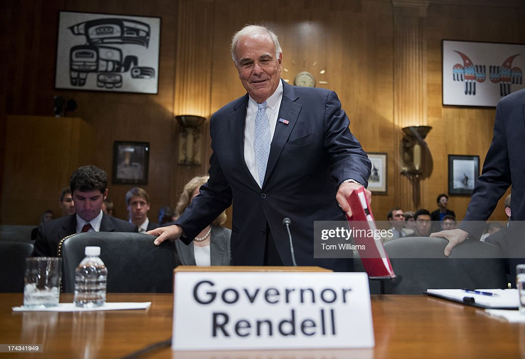 Former Gov. Ed Rendell, D-Pa., arrives to testify before a Joint Economic Committee hearing in Dirksen Building on fixing the nation's deteriorating infrastructure.