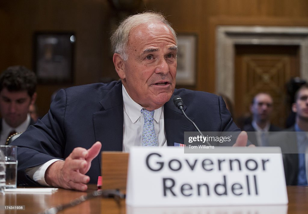 Former Gov. Ed Rendell, D-Pa., testifies before a Joint Economic Committee hearing in Dirksen Building on fixing the nation's deteriorating infrastructure.