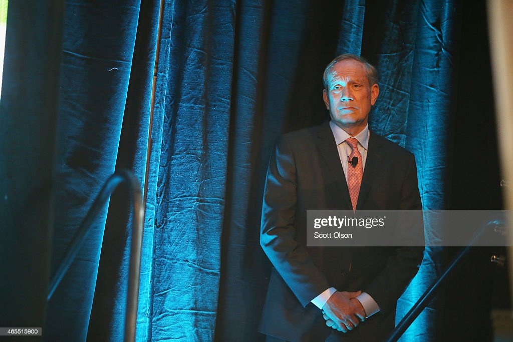 Former Gov. George Pataki of New York waits to be introduced at the Iowa Ag Summit on March 7, 2015 in Des Moines, Iowa. The event allows the invited speakers, many of whom are potential 2016 Republican presidential hopefuls, to outline their views on agricultural issue.