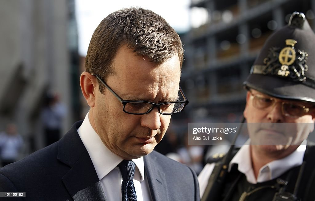 Former government Director of Communications and News of The World editor <a gi-track='captionPersonalityLinkClicked' href=/galleries/search?phrase=Andy+Coulson&family=editorial&specificpeople=734849 ng-click='$event.stopPropagation()'>Andy Coulson</a> leaves the Old Bailey on June 24, 2014. Former government Director of Communications and News of The World editor <a gi-track='captionPersonalityLinkClicked' href=/galleries/search?phrase=Andy+Coulson&family=editorial&specificpeople=734849 ng-click='$event.stopPropagation()'>Andy Coulson</a> has been found guilty of conspiracy to hack phones after an eight month trial at the Old Bailey. Rebekah Brooks, former editor and News International Chief Executive has been found not guilty of all charges against her. The charges of phone hacking were brought by numerous celebrities and members of the public against the media company and forced the closure of the News of the World newspaper.