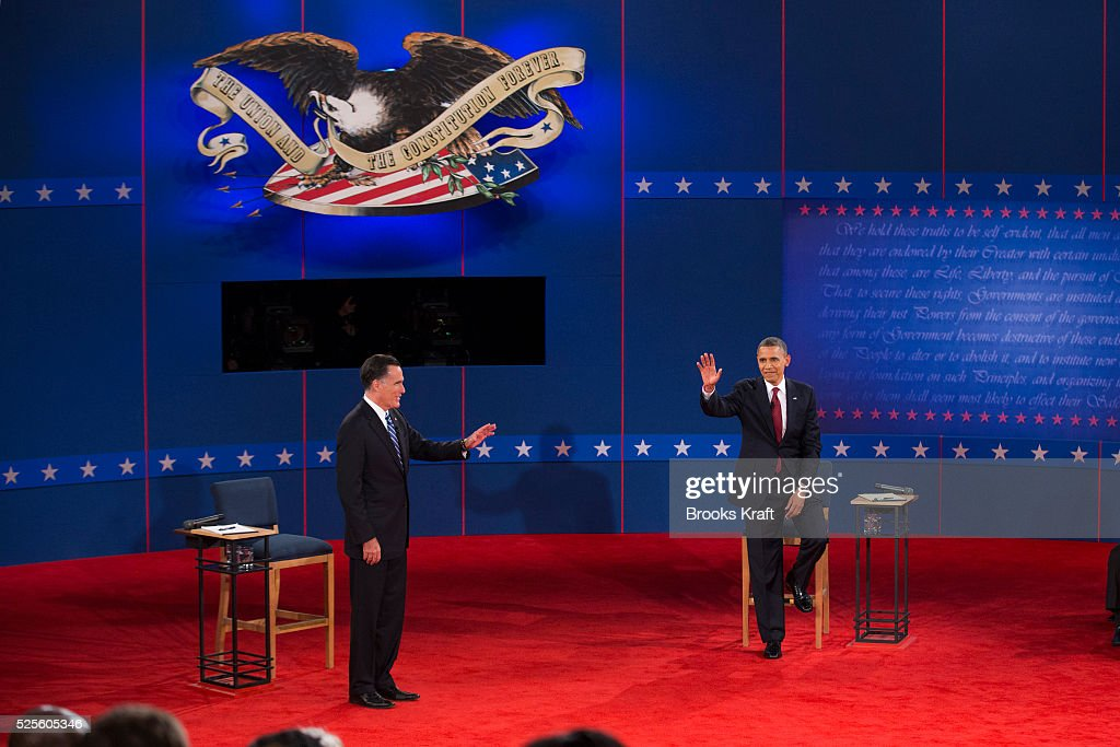 Former governor Mitt Romney and President Barack Obama at the second presidential debate of the 2012 US Presidential Election held at Hofstra...