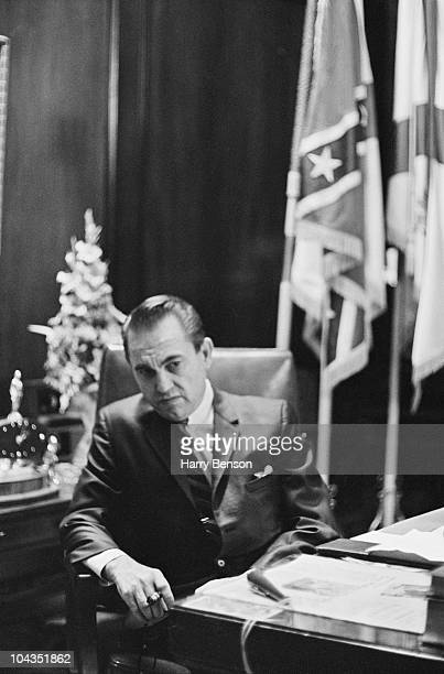Former Governor of Alabama George Wallace in the office of his wife Lurleen Wallace who succeeded him in the post Montgomery Alabama 14th February...